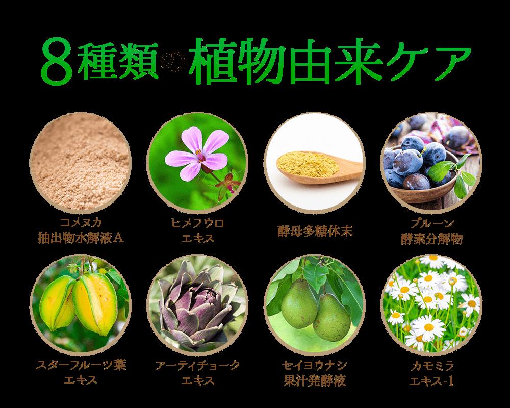 8種類の植物由来ケア